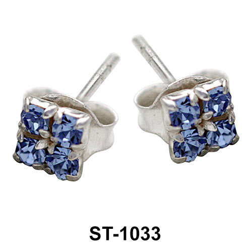 Stud Earring Square CZ Stone ST-1033