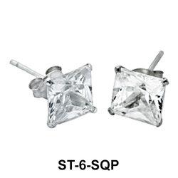 Big Square CZ Stud Earring ST-6-SQP