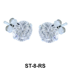 Round CZ Stud Earring ST-8-RS