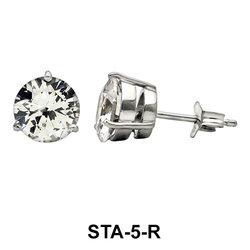 Round CZ Bezel Set Stud Earring STA-5-R