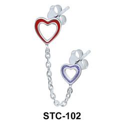 Double Hollow Heart Stud Earrings Chain STC-102