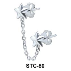 Double Star Stud Earrings Chain STC-80