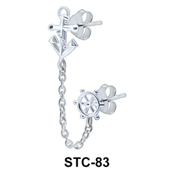 Pretty Anchor Stud Earrings Chain STC-83