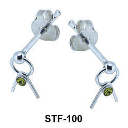 Interesting Design with Stone Stud Earrings STF-100