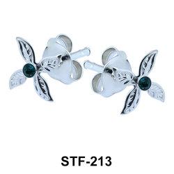 Stone Set Leafy Stud Earrings STF-213