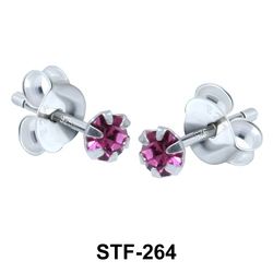 Prong Set Round Stone Stud Earrings STF-264