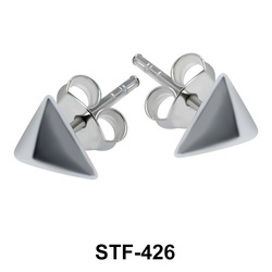 Pyramid Silver Studs Earrings STF-426