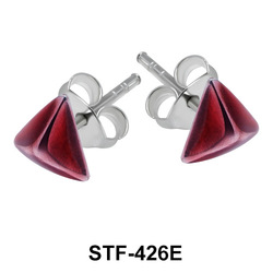 Pyramid Silver Studs Earrings STF-426E