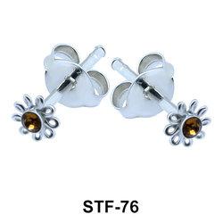 Stone Set Flower Shaped Stud Earrings STF-76