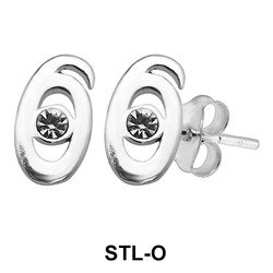 Stud Earring M Shape STL-O