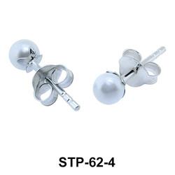 4 mm. Pearl n Leaf Shaped Silver Earring STP-62-4