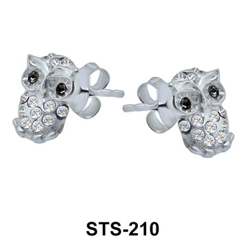 Stone Studded Owl Stud Earrings STS-210