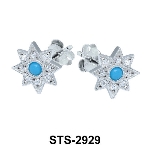 Turquoise with CZ Stones Stud Earring STS-2929