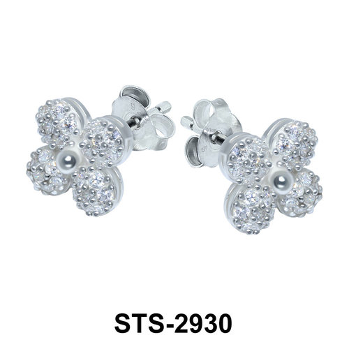 Flower with CZ Stones Stud Earring STS-2930