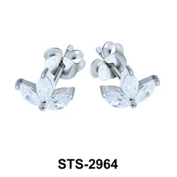 Leaf Shaped CZ Stones Stud Earring STS-2964