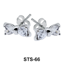 Stone Set Bow Shaped Silver 925 Ear STS-66