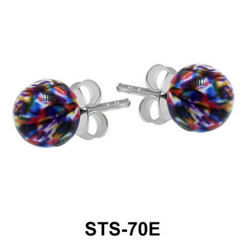 Rainbow Stone Set Silver Studs Earring STS-70E
