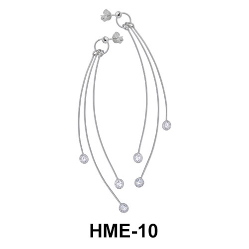 Silver Long Shaped Earrings HME-10