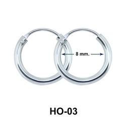 8 mm Silver Hoop Earring HO-03