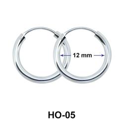 12mm Silver Hoop earrings HO-05