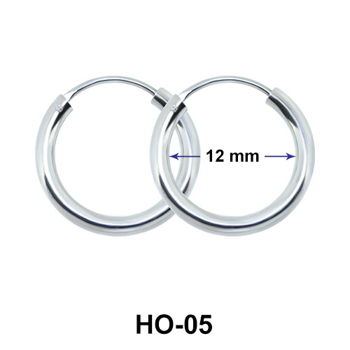 12mm Silver Hoop earrings HO-05