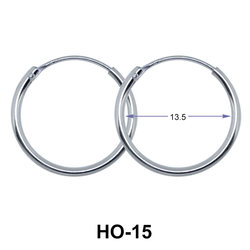 13.5mm Silver Hoop Earrings HO-15