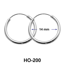 14mm Silver Hoop Earrings HO-200