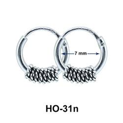 Silver Hoop Earrings with Rings HO-31n