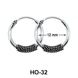 Silver Hoop Earrings with Ropy Design HO-32