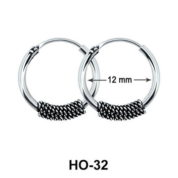 Silver Hoop Earrings with Ropy Design HO-32