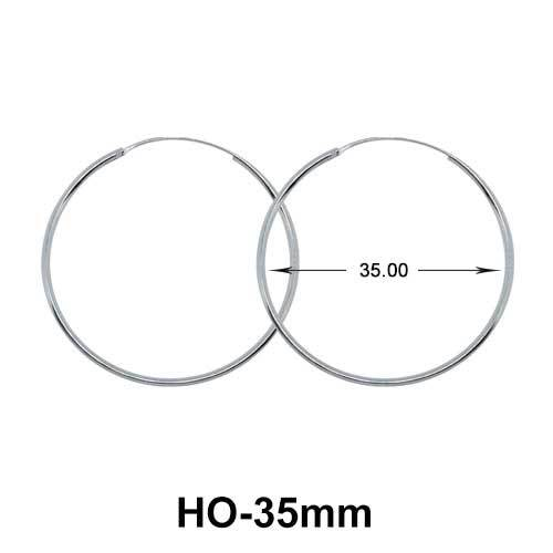 35mm Silver Hoop Earrings HO-35