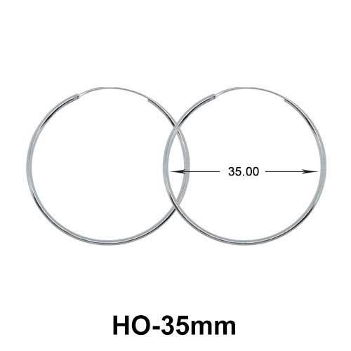 35mm Silver Hoop Earrings HO-35