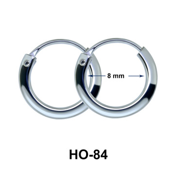 8mm Silver Hoop Earrings HO-84