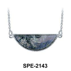 Moss Agate Pendant Silver SPE-2143
