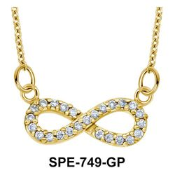 Gold Plated Shinny Infinity Shaped Pendants Line SPE-749-GP