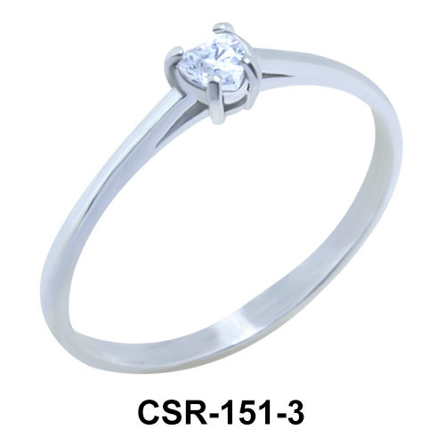 Heart Stone 3mm. Silver Ring CSR-151-3
