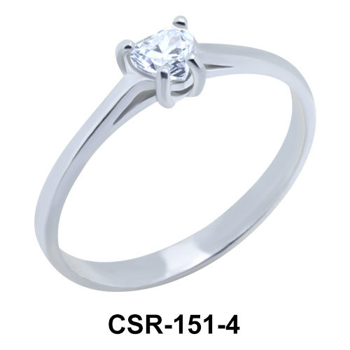 Silver Ring Heart Stone 4mm. CSR-151-4