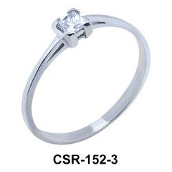 Silver Ring Square Stone 3 mm CSR-152-3