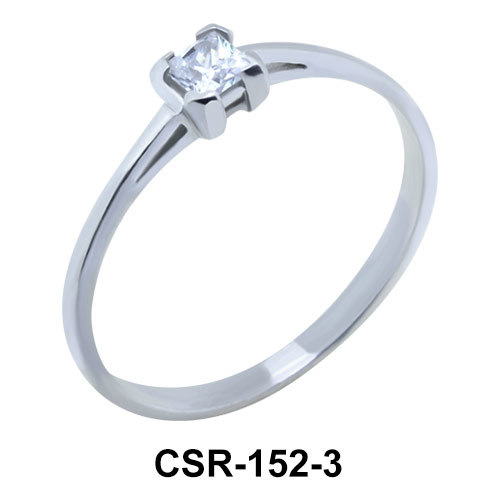 Silver Ring Square Stone 3 mm CSR-152-3