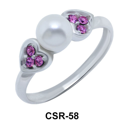 Silver Ring Hearts and Pearl CSR-58