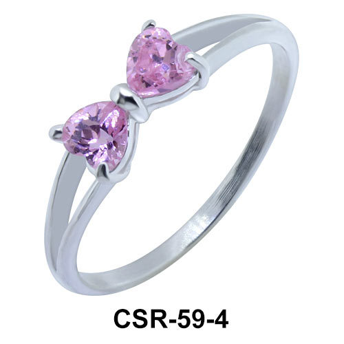 Silver Ring CZ Bow 4mm CSR-59-4