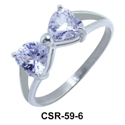 Silver Ring CZ Bow 6mm CSR-59-6