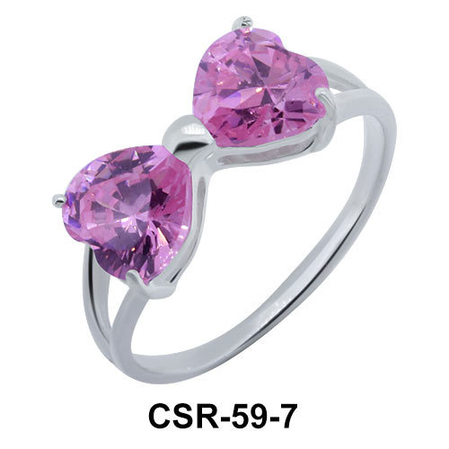 Silver Ring CZ Bow 7mm CSR-59-7