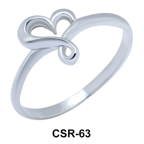 Silver Ring Plain Heart CSR-63