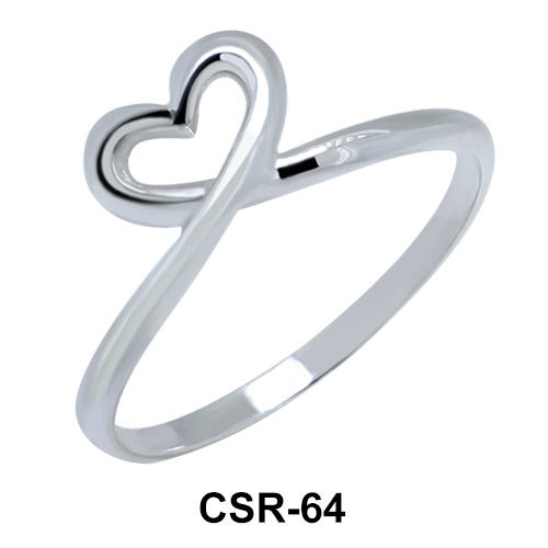 Twisted Heart Silver Ring  CSR-64