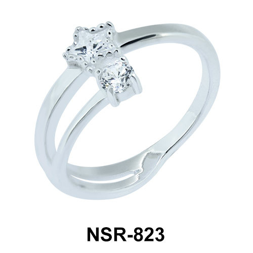Star and Round CZ Silver Ring NSR-823