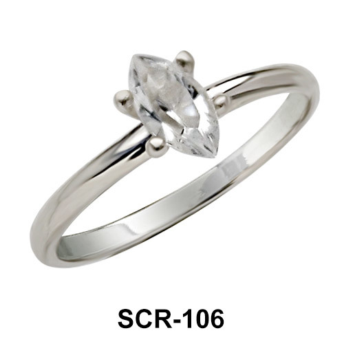 Oval CZ Silver Ring SCR-106