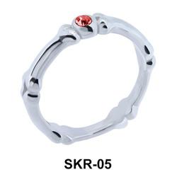 Bone with Rhinestone Surgical Steel Rings SKR-05