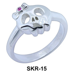 Skull with Bow Surgical Steel Rings SKR-15