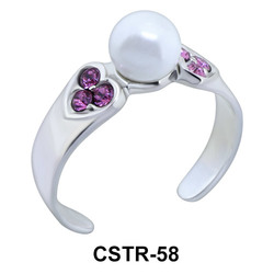 Toe Ring with Pearl and CZ CSTR-58